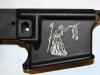Bacon Maker AR-15 lower receiver with San Jacinto Liberty Flag inscription
